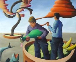 Insel der Glueckseligen, 2012, Öl/LW, 185x200cm