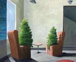 Interieur mit Baeumen, 2001, Öl/LW, 65x55cm