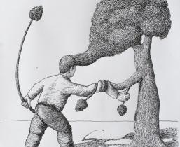 Der Feind ist die Natur: Verfilzung (entanglement), 2017, Tusche auf Papier, 34x35 cm