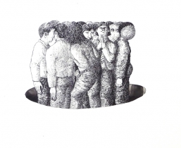 Crowd, 2009, Tusche, 50x50cm