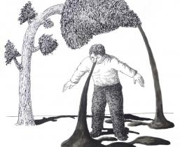 Create Elephant Footprint, 2009, Tusche, 40x50cm
