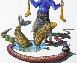 Helping Fishes with Socks, 2011, farbige Tuschen, 50x60cm