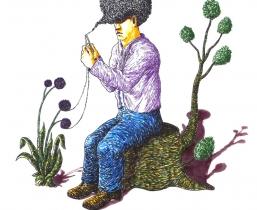 Knitting AfroLook, 2010, farbige Tuschen, 40x50cm