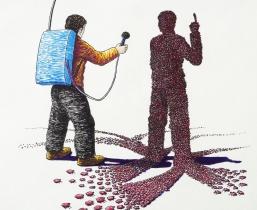 Evolution of the Little Red Bug, 2012, farbige Tuschen, 50x60cm