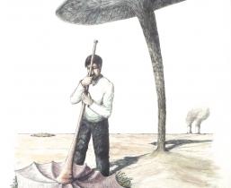 Schirm, 2008, Buntstift, 55x65cm