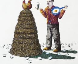 Explaining Sense of Live to a Chicken, 2011, farbige Tuschen, 50x60cm