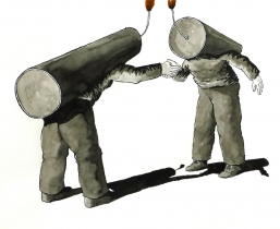 Two Bombs greeting, 2009, Tusche, 40x50cm